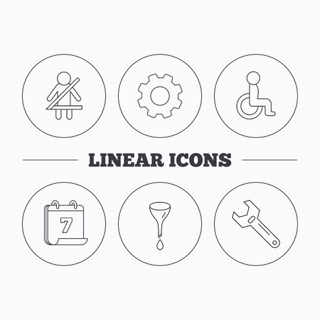 oil change: Seat belt, oil change and wrench tool icons. Disabled person linear sign. Flat cogwheel and calendar symbols. Linear icons in circle buttons. Vector Illustration