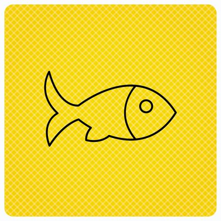 Fish with fin icon. Seafood sign. Vegetarian food symbol. Linear icon on orange background. Vector Illustration