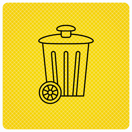 trash container: Recycle bin icon. Trash container sign. Street rubbish symbol. Linear icon on orange background. Vector Illustration