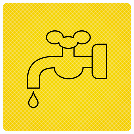 waterworks: Water supply icon. Crane or Faucet with drop sign. Linear icon on orange background. Vector