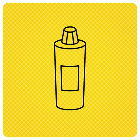 shampoo bottle: Shampoo bottle icon. Liquid soap sign. Linear icon on orange background. Vector Illustration