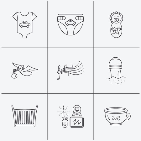 beach bucket: Diapers, newborn baby and clothes icons. Kids songs, beach bucket and bed linear signs. Video monitoring, wc flat line icons. Linear icons on white background. Vector