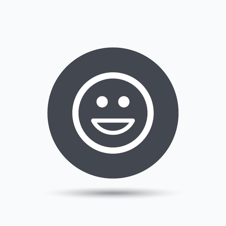 laugh emoticon: Happy smile icon. Smiley laugh emoticon symbol. Flat web button with icon on white background. Gray round pressbutton with shadow. Vector