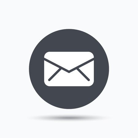 mailing: Envelope icon. Send email message sign. Internet mailing symbol. Flat web button with icon on white background. Gray round pressbutton with shadow. Vector Illustration