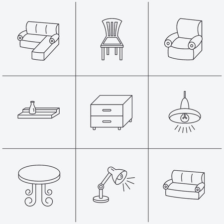 living room wall: Corner sofa, table and armchair icons. Chair, ceiling lamp and nightstand linear signs. Wall shelf furniture flat line icons. Linear icons on white background. Vector