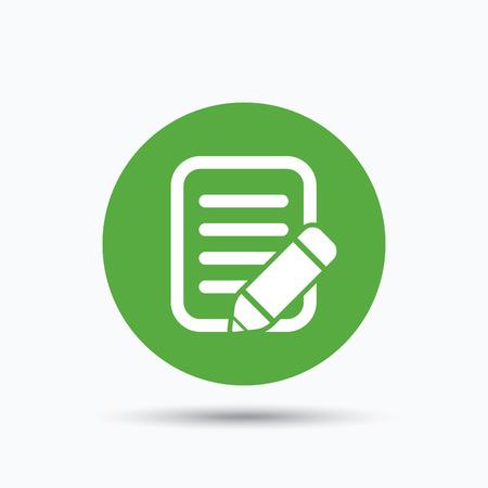 Symbol Bearbeiten. Bleistift zum Zeichnen Symbol. Flache Web-Taste mit Symbol auf weißem Hintergrund. Grüne Runde Druckknopf mit Schatten. Vektor