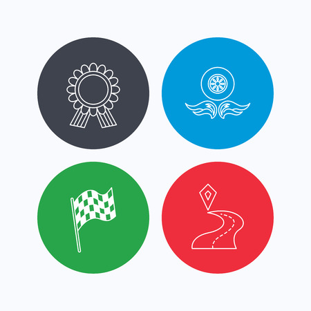 race winner: Winner award medal, destination and flag icons. Race flag, wheel on fire linear signs. Linear icons on colored buttons. Flat web symbols. Vector Illustration
