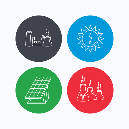 radiological: Solar collector energy, factory and industries icons. Solar energy linear signs. Linear icons on colored buttons. Flat web symbols. Vector