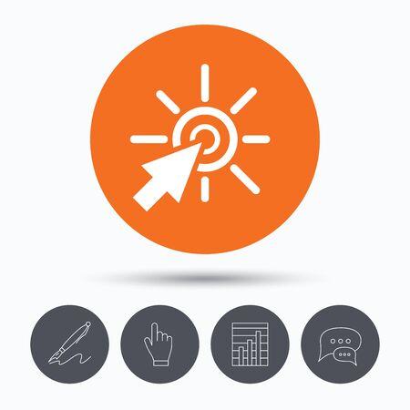 click the icon: Click icon. Computer mouse cursor symbol. Speech bubbles. Pen, hand click and chart. Orange circle button with icon. Vector Illustration