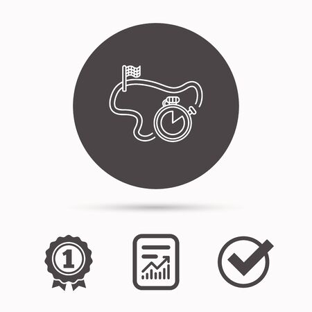 race winner: Race road icon. Finishing flag with timer sign. Report document, winner award and tick. Round circle button with icon. Vector