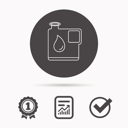 filling folder: Jerrycan icon. Petrol fuel can with drop sign. Report document, winner award and tick. Round circle button with icon. Vector Illustration
