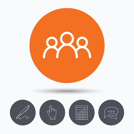 friend chart: People icon. Group of humans sign. Team work symbol. Speech bubbles. Pen, hand click and chart. Orange circle button with icon. Vector Illustration