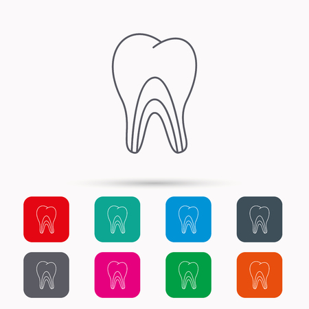 pulpitis: Dentinal tubules icon. Tooth medicine sign. Linear icons in squares on white background. Flat web symbols. Vector