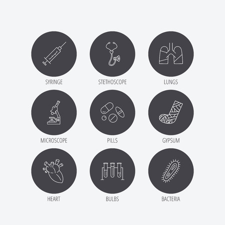 bacteria in heart: Broken foot, lungs and syringe icons. Stethoscope, pills and microscope linear signs. Bacteria, heart and lab bulbs flat line icons. Linear icons in circle buttons. Flat web symbols. Vector