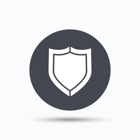 honour guard: Shield protection icon. Defense equipment symbol. Flat web button with icon on white background. Gray round pressbutton with shadow. Vector