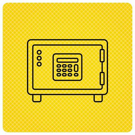 combination safe: Safe icon. Money deposit sign. Combination lock symbol. Linear icon on orange background. Vector
