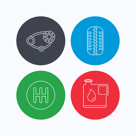 timing belt: Wheel, manual gearbox and timing belt icons. Fuel jerrycan, manual transmission linear signs. Linear icons on colored buttons. Flat web symbols. Vector Illustration
