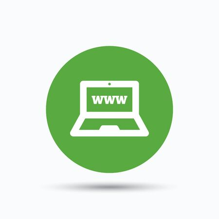 netbook: Computer icon. Notebook or laptop pc symbol. Flat web button with icon on white background. Green round pressbutton with shadow. Vector