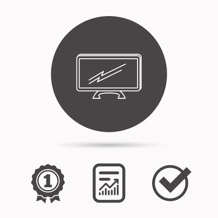 lcd display: Lcd tv icon. Led monitor sign. Widescreen display symbol. Report document, winner award and tick. Round circle button with icon. Vector