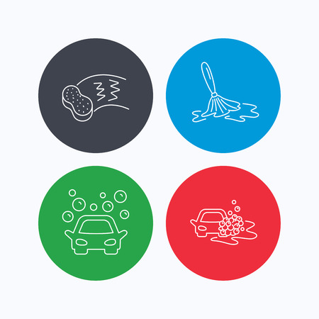 operated: Car wash icons. Automatic cleaning station linear signs. Hand wash, sponge flat line icons. Linear icons on colored buttons. Flat web symbols. Vector