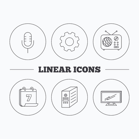 tv retro: TV, retro radio and microphone icons. PC case linear sign. Flat cogwheel and calendar symbols. Linear icons in circle buttons. Vector