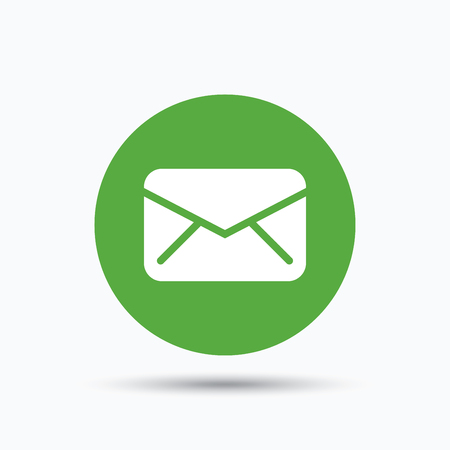 mailing: Envelope icon. Send email message sign. Internet mailing symbol. Flat web button with icon on white background. Green round pressbutton with shadow. Vector