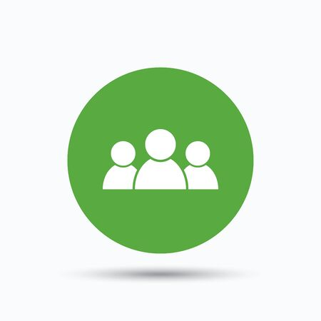 shadow people: People icon. Group of humans sign. Team work symbol. Flat web button with icon on white background. Green round pressbutton with shadow. Vector Illustration