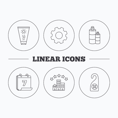 5 door: Hotel, shampoo and sun cream icons. Do not disturb linear sign. Flat cogwheel and calendar symbols. Linear icons in circle buttons. Vector