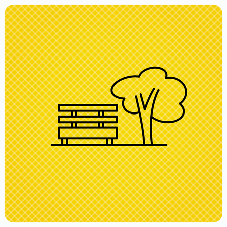park icon: Public park icon. Tree with bench sign. Linear icon on orange background. Vector Illustration