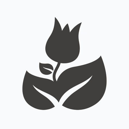 florist: Rose flower icon. Florist plant with leaf symbol. Gray flat web icon on white background. Vector