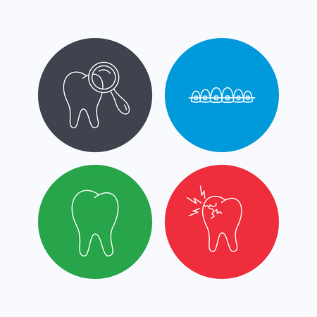 dental braces: Tooth, dental braces and toothache icons. Dental diagnostics linear sign. Linear icons on colored buttons. Flat web symbols. Vector