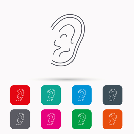 otorhinolaryngology: Ear icon. Hear or listen sign. Deaf human symbol. Linear icons in squares on white background. Flat web symbols. Vector Illustration