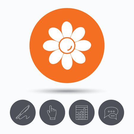 florist: Flower icon. Florist plant with petals symbol. Speech bubbles. Pen, hand click and chart. Orange circle button with icon. Vector Illustration