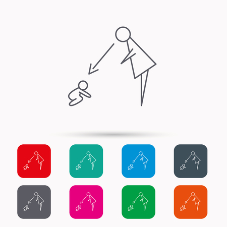 supervision: Under nanny supervision icon. Babysitting care sign. Mother watching baby symbol. Linear icons in squares on white background. Flat web symbols. Vector