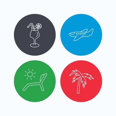 deck chair: Airplane, deck chair and cocktail icons. Palm tree linear sign. Linear icons on colored buttons. Flat web symbols. Vector