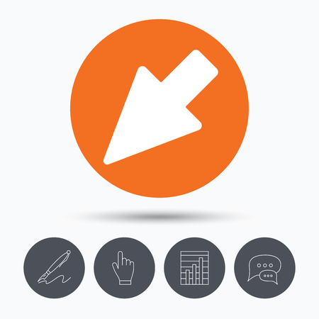 hand position: Cursor icon. Computer position marker symbol. Speech bubbles. Pen, hand click and chart. Orange circle button with icon. Vector