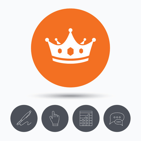 bubble pen: Crown icon. Royal throne leader symbol. Speech bubbles. Pen, hand click and chart. Orange circle button with icon. Vector