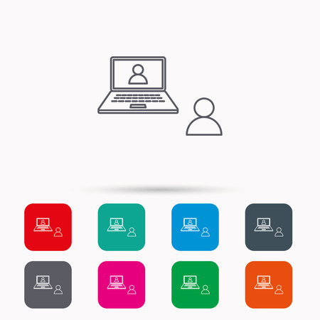 web conference: Video chat icon. Webcam chatting sign. Web conference symbol. Linear icons in squares on white background. Flat web symbols. Vector