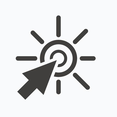 klik: Klik op het pictogram. Computer muiscursor symbool. Gray plat web pictogram op een witte achtergrond. Vector