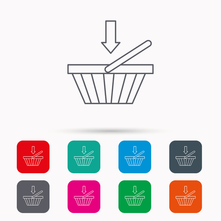 dealings: Shopping cart icon. Online buying sign. Linear icons in squares on white background. Flat web symbols. Vector