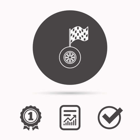 race winner: Race icon. Wheel with racing flag sign. Report document, winner award and tick. Round circle button with icon. Vector
