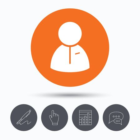 friend chart: User icon. Human person symbol. Speech bubbles. Pen, hand click and chart. Orange circle button with icon. Vector