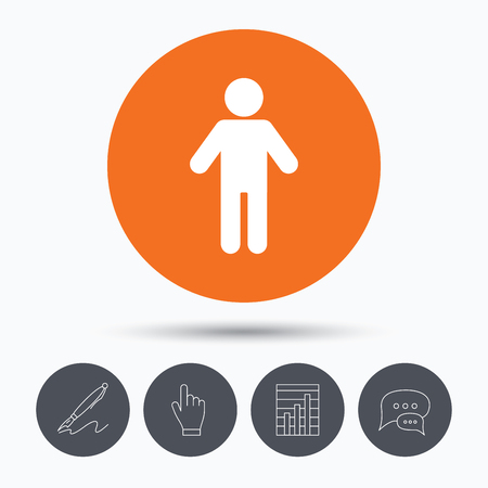 click button: Man icon. Male human symbol. User sign. Speech bubbles. Pen, hand click and chart. Orange circle button with icon. Vector Illustration