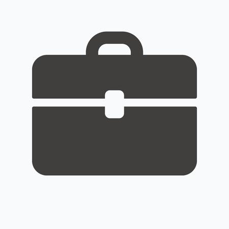 diplomat: Briefcase icon. Diplomat handbag symbol. Business case sign. Gray flat web icon on white background. Vector Illustration
