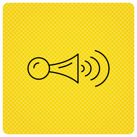 strident: Klaxon signal icon. Car horn sign. Linear icon on orange background. Vector