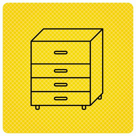 commode: Chest of drawers icon. Interior commode sign. Linear icon on orange background. Vector
