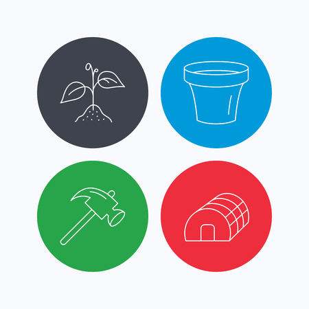 hothouse: Sprout plant, hammer and pot icons. Hothouse linear sign. Linear icons on colored buttons. Flat web symbols. Vector