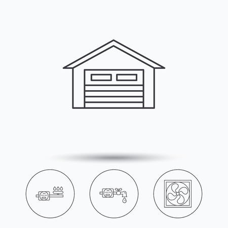 ventilation: Ventilation, garage and water counter icons. Gas counter linear sign. Linear icons in circle buttons. Flat web symbols. Vector