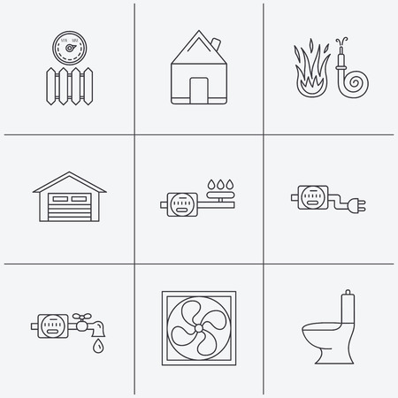 sewage: Ventilation, garage and heat radiator icons. Gas, water and electricity counter linear signs. Real estate, toilet and fire hose icons. Linear icons on white background. Vector