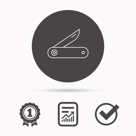 knive: Multitool knife icon. Multifunction tool sign. Hiking equipment symbol. Report document, winner award and tick. Round circle button with icon. Vector Illustration